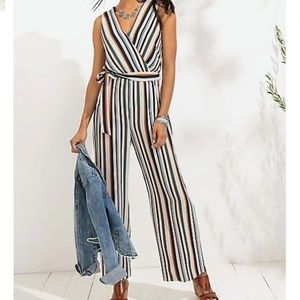 Maurices Variegated Stripe Tie Front Jumpsuit XS
